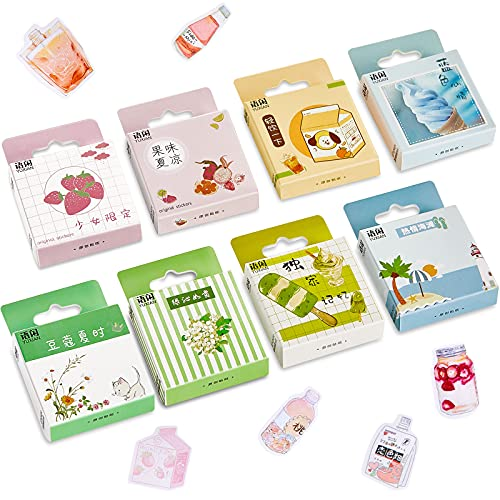 400 Pieces Kawaii Style Box Sticker Lovely Stationery Sticker Colorful Scrapbooking Sticker Cartoon Japanese Sticker DIY Kawaii Stickers Set for Diary Albums Personalize DIY Paper Crafts Decoration