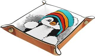 BestIdeas Panier de rangement carré 20,5 × 20,5 cm, avec pingouin portant un chapeau coloré, boîte de rangement sur table ...