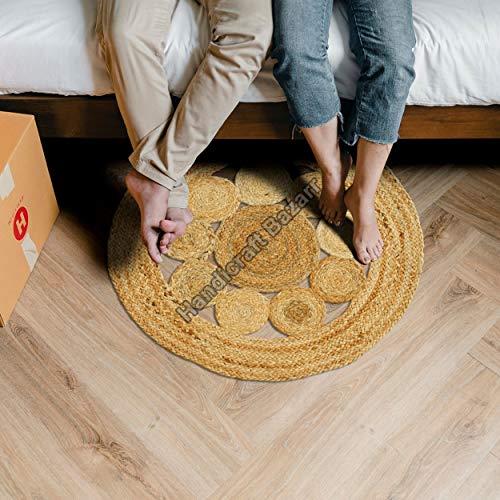 Handicraft Bazarr Alfombra de entrada para sofá, de yute, redonda, de 60,96 cm, estilo vintage, redonda, alfombra hippie, alfombra tradicional