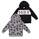 Disney Boy's 2-Piece Mickey Mouse Zip Up Hooded Jacket and Pullover Hoodie Set, Black/Grey, Size 5