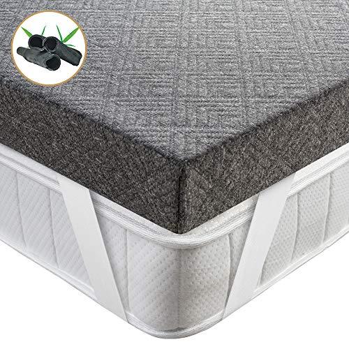 BedStory Topper Viscoelastico 135x190x7.5cm Topper Colchón con Gel de Carbón de Bambú Antiácaros y Transpirable Sobrecolchón Viscoelastico con Funda Desmontable y Lavable