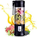 Portable blender, Mini Fruit Juicer Cup, Personal Small Electric Juice Mixer Machine with USB Rechargeable 4000mAh Battery Powered 420ML Travel Bottle (Black)