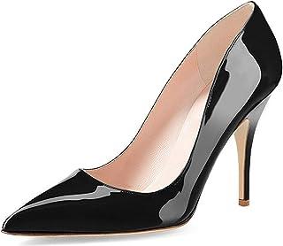 Women's Chic Pointed Toe Mid Heel Pumps Polka Dots Slip...