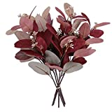 Greentime 6 Pack Mixed Color Artificial Eucalyptus Leaves Greenery Decor for Wedding Bouquet Birthday Party Home Decor DIY Wreath (Burgundy & Brown)