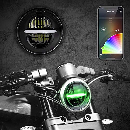BLACK 5.75' RGB LED Harley Headlight XKchrome Bluetooth App Controlled Kit w/Color Changing DRL Feature