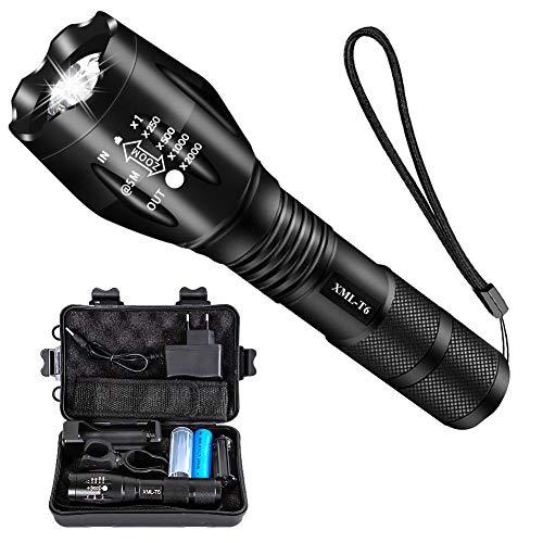 Airand Taschenlampe Led Set Super Helle Taschenlampen 5 Licht Modi Wasserdicht Flashlight mit Zoom Tragbarer Led Taschenlampe für Indoor Outdoor Wandern Camping Jagd Angeln Notfall (Mit 18650 Akku)