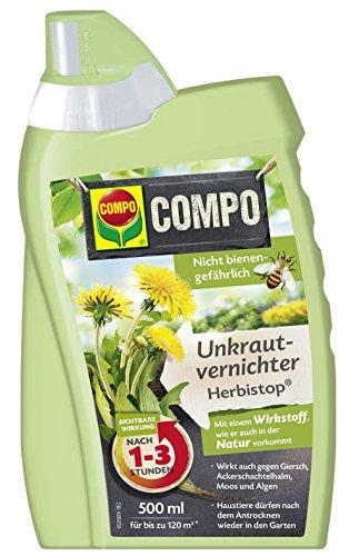 COMPO Bio Unkrautvernichter Herbistop, Bekämpfung von ein- und zweiblättrigen Unkräutern, Algen und Moosen, Konzentrat, 500 ml