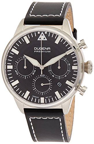 Dugena Herren-Armbanduhr Cockpit Chronograph - Sport Line Analog Quarz Leder 7000179