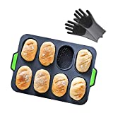FireKylin Baguette Pans for Baking, Mini Silicone Loaf Bread Baking Trays Mold, Non Stick Hamburger Buns Sandwich Maker with 1 Pair of Oven Gloves
