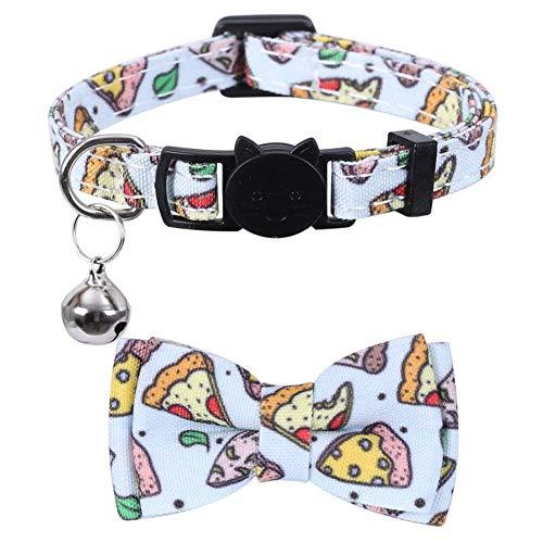 Moligin Collar del Gato con Bell De Liberación Rápida De La Pajarita Gatito Collar del Gato De Pulgas Collares Rastreador De Seguridad De Ajuste Rápido para Pizza Impreso Gatito Perro