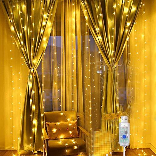 Cadena de luces ,USB Luces IP68 Impermeable[2 piezas] 2x10m 200 Leds 8 modos de iluminación Cadena de cortina ,para Decoración,para dormitorio, fiesta, boda, hogar, jardín, Conexión USB