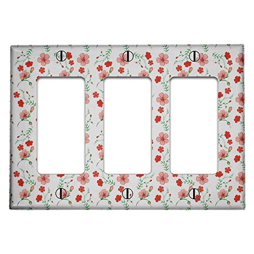 Triple 3 Gang Rocker (Decora/GFCI Device) Decorative Switch Wall Plate Cover (Elegant Botanical Pattern)
