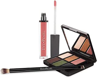 EVE PEARL Ultimate Eye Palette with Lip Gloss And Dual Brush Must Have Kit Long Lasting Lip Color Eyeshadow Brush Everyday Use Makeup Set