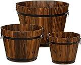 【Interni ed esterni】 - Questi vasi da fiori in stile rustico possono essere utilizzati per abbellire la porta d'ingresso, la console del soggiorno o le finestre della cucina. Materiale: il vaso è realizzato in legno di carbonio naturale, che lo rende...