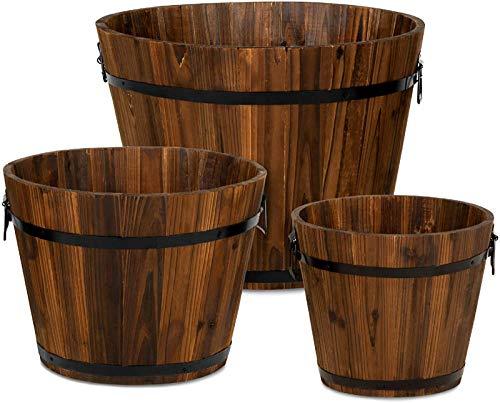 DJDL Vasi in Legno, Fioriera a Botte di Whisky, Rustico Fioriera Giardinaggio, con Fori di Drenaggio, per Patio da Giardino Interno Esterno, Set di 3