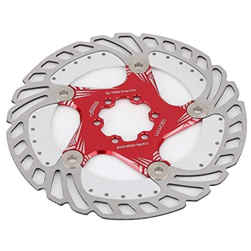 Rotor de freno de disco flotante, almohadilla de freno de bicicleta de montaña de 180 mm y 6, para la mayoría de las bicicletas de carretera, bicicleta de montaña, BMX, MTB(Rojo 180)