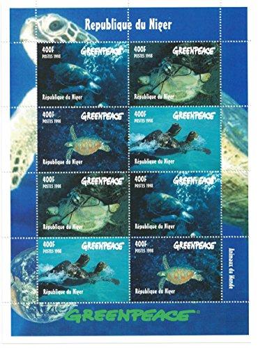Briefmarken für Sammler–perforfated Stempel Tabelle mit Greenpeace/Sea Turtles/Niger