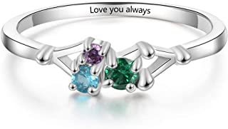 Personalized Rings with 3 Simulated Birthstones Custom Engraved Names Ring Jewelry for Women Girls