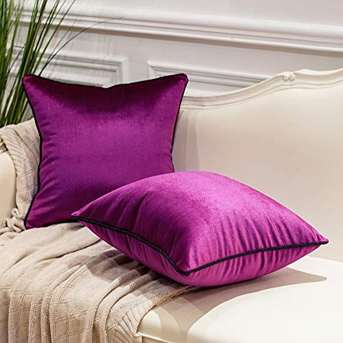 Avigers Pack of 2 Luxury Warp-Knitted Velvet Solid Soft Decorative Square Throw Pillow Covers Set Cushion Case for Sofa Bedroom Car 18 x 18 Inches 45cm x 45cm, Rose Violet Purple