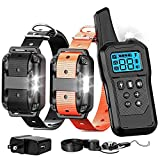 F-color Dog Training Collar, 2019 Upgraded Shock Collar for Dogs with Remote 2600 Feet, Removable Shock Contacts for Small Medium Large Dogs, 4 Training Modes Waterproof Dog Shock Collar for 2 Dogs