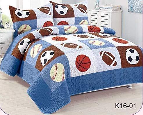 Golden Linens Full Size 3 Pieces Kids Bedspread Quilts for Teens Boys Printed Bedding Coverlet Sport American Football Basketball Baseball Multi color Light blue, Orange Light Brown #Full 16-01