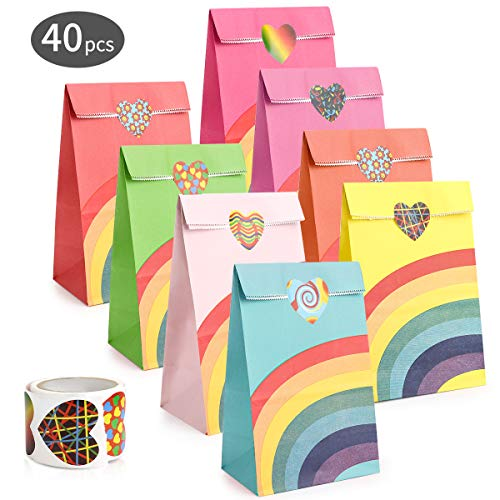 Powcan Punkt Papier Taschen, 40 Stück Papier Geschenktüten Tüten aus Kraftpapier Einkaufstüten Handwerk Papiertüten Mittagessen Flachboden Papiertüten, 22 x 12x 8 cm