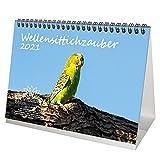 Wellensittichzauber DIN A5 Tischkalender für 2021 Wellensittiche - Geschenkset Inhalt: 1x Kalender, 1x Weihnachtskarte (insgesamt 2 Teile)