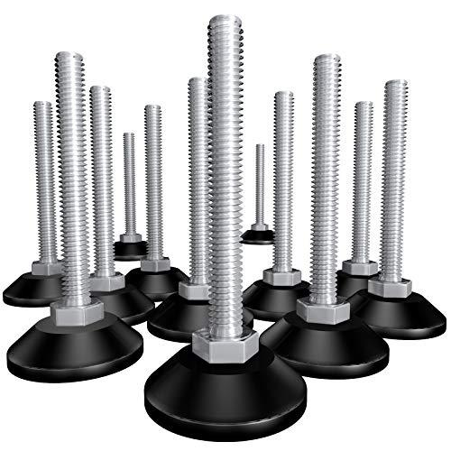 Packung mit 12 Stück Stellteller K38, M8 x 70 mm | Schraubfüße, Möbelfuß, Stellschraube mit Gewindeschraube