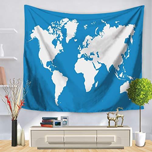 WERT Mapa del Mundo patrón Tapiz de Pared Manta Colgante de Pared decoración de casa de Campo máquina de decoración para el hogar A22 150x130cm