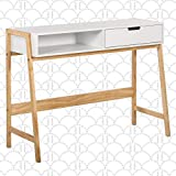 Elle Decor Jasper Modern Home Office Writing Desk, Minimalist Retro Simple Study Table with Drawers, French White