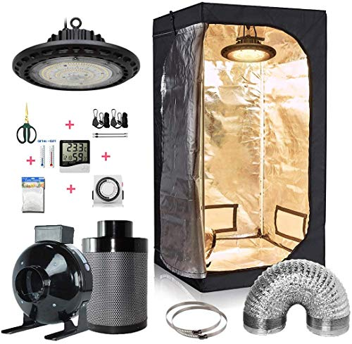 """GreenHouser Grow Tent Room Complete Kit Hydroponic Growing System LED 300W/ 600W/ 800W Grow Light + 4"""" Carbon Filter Combo + Multiple Size Dark Room (300W LED Light, 32''x32''x63'' Plant Tent Kit)"""