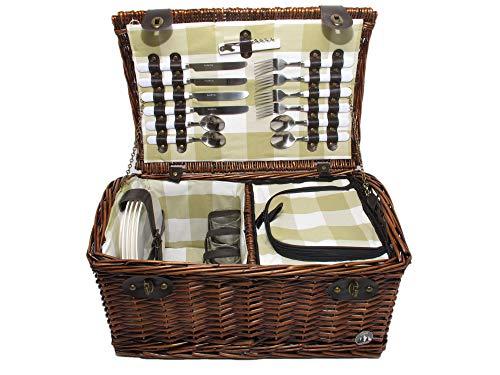 Marke_Cilio Cilio Picknickkorb Weide Dunkelbraun mit Besteck und Geschirr 4 Personen Futter beige-kariert