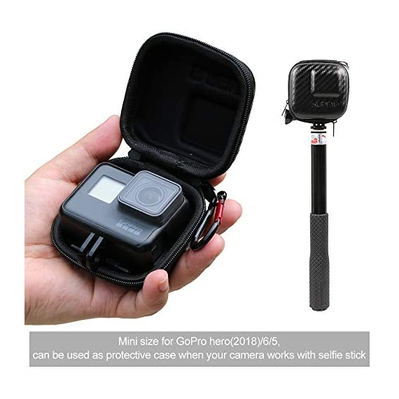 Hard Carrying Case for GoPro Hero 9/8,SUREWO Mini Hard Shell Carrying Case Travel Portable Storage Bag for GoPro Hero 9… 2 ★ MINI SIZE - Mini storage just for Gopro camera plus frame housing,keeps your GoPro safe and protected.Compact and easy to store in backpacks or carry-on luggage.Recommend for traveling and home storage,it is very easy to carry. ★ HIGH QUALITY and FASHIONAL - High quality PU surface,provide Water resistance and dampproof.Stylish exterior design of black twill patterns. ★ DOUBLE ZIPPER - The advantage of the double zipper is that this mini bag can also be used when you want to install a similar mount such as a selfie stick.Just install the mini bag after installing the selfie stick.It's up to you to decide how to use it.This mini case both as a storage box and as a protective case.