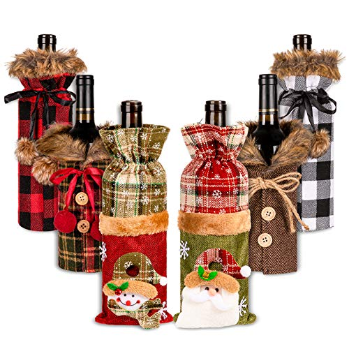 Whaline 6Pcs Sweater Christmas Wine Bottle Cover Fur Bottle Holder Xmas Champagne Bottle Dress Plaid Drink Sleeves Button Bow knot for Christmas Decoration New Year Party Winter Supplies