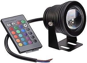 OSALADI Fuente de la Piscina Lámpara LED Control Remoto Luz subacuática Cambio de Color Luces de Estanque de Acuario (Negro Shell RGB) 10W