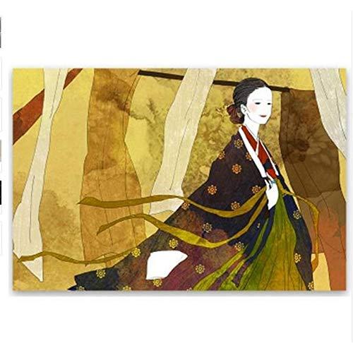 MJKLU Acuarela versión Coreana de señoras Hanbok Sentado en el árbol Pintura núcleo Arte Cartel nórdico Retro Elegante decoración de Imagen Lienzo Griego Regalo para el hogar 50X65CM