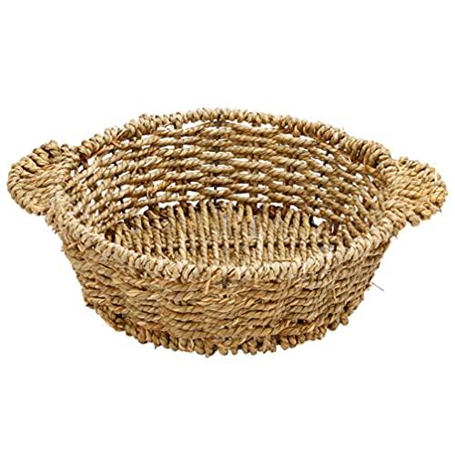 DOITOOL Cesta de cuenco tejida natural con dos asas para microondas, cuencos de agua redondos, jacinto, cestas de almacenamiento de ratán, S