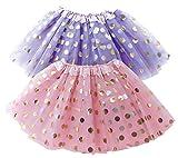 Polka Dot Tutu Skirt for Toddler Girls/Tutu Set Pink Tulle Skirts & Purple Tutus Sets- Girl Dress Up Birthday Party, Halloween Costume