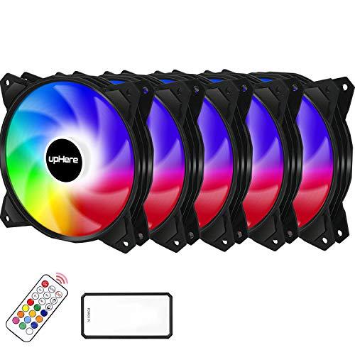 upHere Ventola da Telecomando Controllo RGB LED 120mm Case per PC,Ventola Silenziosa di qualità Premium,PF1206-5