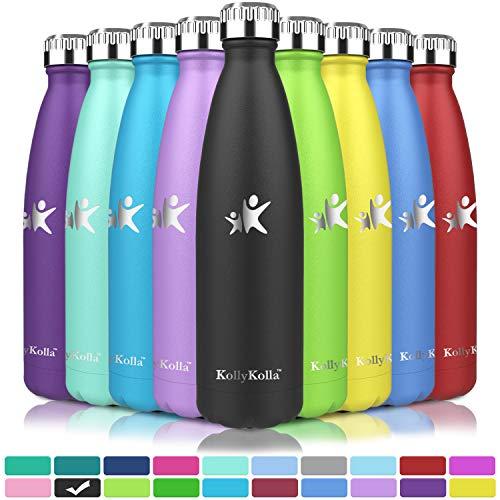 KollyKolla Botella de Agua Acero Inoxidable, Termo Sin BPA Ecológica, Botellas Termica Reutilizable Frascos Térmicos para Niños & Adultos, Deporte, Oficina, Yoga, Ciclismo, (750ml Negro Fresco)