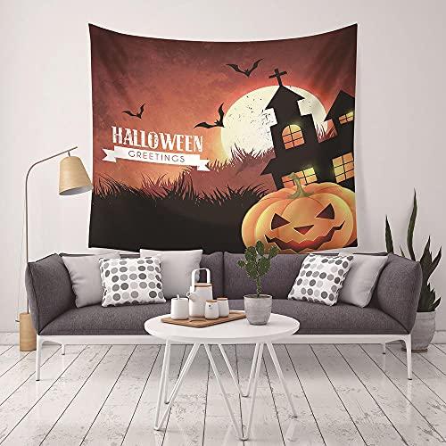 Tapiz Pared,Tapices Decorativos,Colcha de pícnic,Manta de calabaza espeluznante espeluznante de terror de Halloween tapices paradormitorio dormitorio decoración de sala de estar casa embrujada
