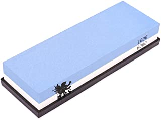 H&S Whetstone - Piedra afiladora para cuchillos (grano 1000/6000, base de soporte de goma)