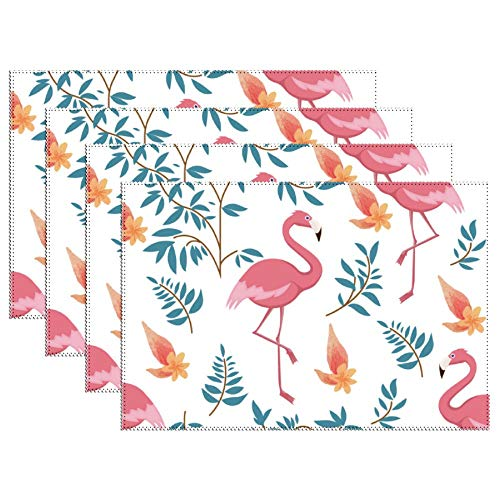 Yilooom Set of 6 Heat Resistant Stain Insulation Place Mats Anti-Skid Washable Canvas Table Placemats 12 X 18 Inch, Flower Flamingo and Leaves