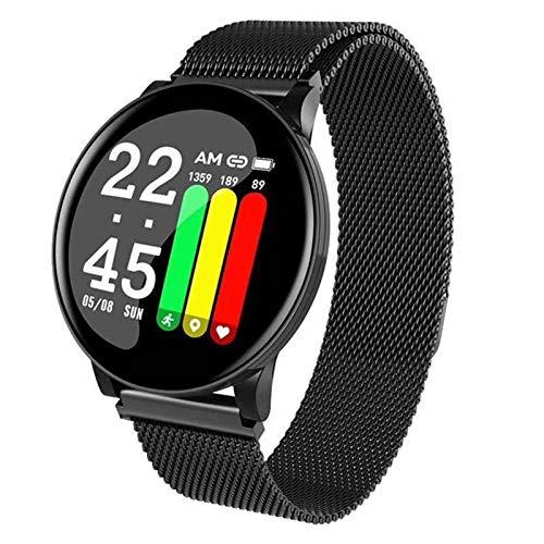 JXFF W8 Smart Watch W8 Sports Circular Impermeable Smartwatch Men and Women Fitness Tracker Tasa De Corazón Presión Arterial Reloj Inteligente para Android iOS,B