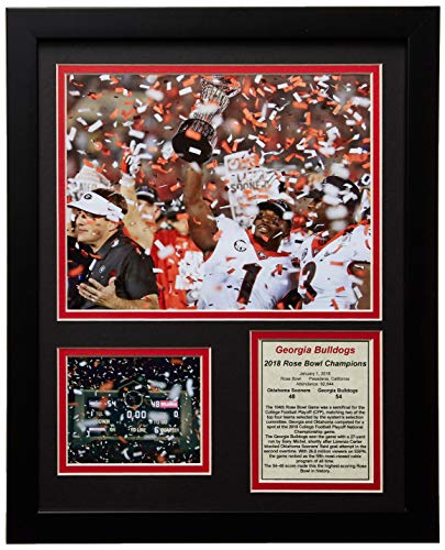 Legends Never Die UGA Georgia Bulldogs Rose Bowl Champions 2018 Collectible | Framed Photo Collage Wall Art Décor - 12' x 15'