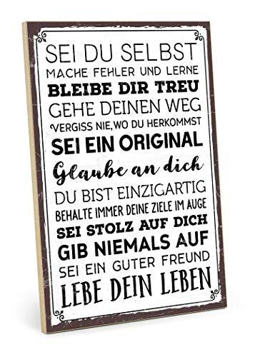 TypeStoff Holzschild mit Spruch – SEI DU SELBST – im Vintage-Look mit Zitat als Geschenk und Dekoration (Größe: 19,5 x 28,2 cm)
