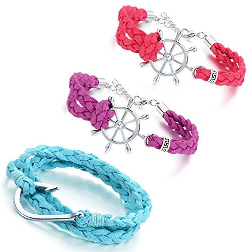 Aroncent 3PCS Geflochten Vintage Angelhaken Haken Ruder Wickel Armreif Armband für Herren Damen, Korea Samt Legierung, Lila Rot Hellblau