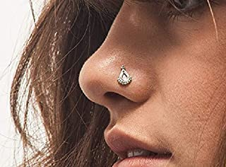 Nose Stud: Unique Handmade Indian Style Anchor Sterling Silver Nostril Jewelry in 20 Gauge For LEFT Side Piercings