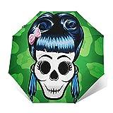 Parapluie Pliant, Parapluie Pliable Automatique Ouverture Et Fermeture Résistant à Tempête Compact Léger Parapluie De Voyage pour Homme Et Femme Blue Pin-up Rockabilly Girl