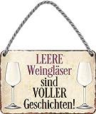 Targa in metallo con scritta divertente 'Vino vuoto' in stile rétro, idea regalo per compleanno, Natale, cantina, vino, vino, 18 x 12 cm